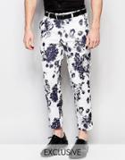 Reclaimed Vintage Skinny Pants In Floral Print - Black