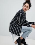 Monki Tailored Popper Detail Stripe Blazer - Black