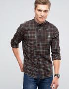 Asos Longline Shirt In Grid Check In Regular Fit - Brown