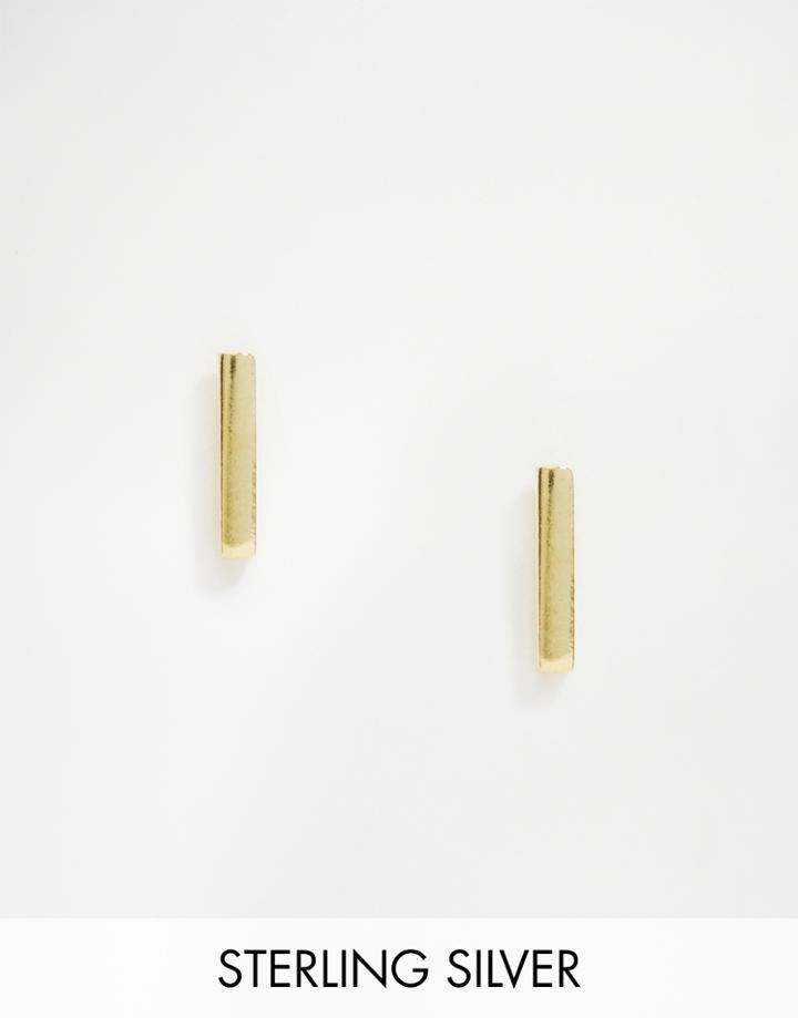 Asos Gold Plated Sterling Silver Solid Bar Earrings - Gold