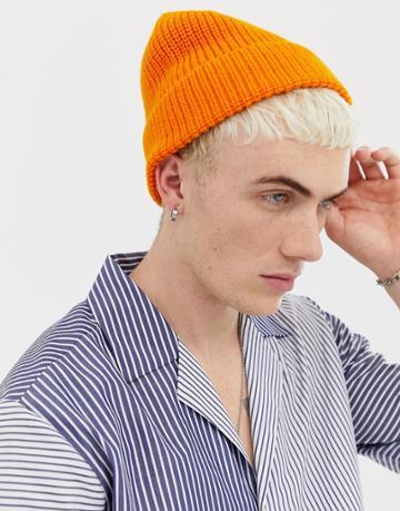 Weekday Frank Knit Beanie In Orange - Orange