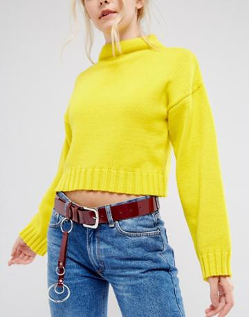 Asos Ring Tab Jeans Belt In Patent Red - Red