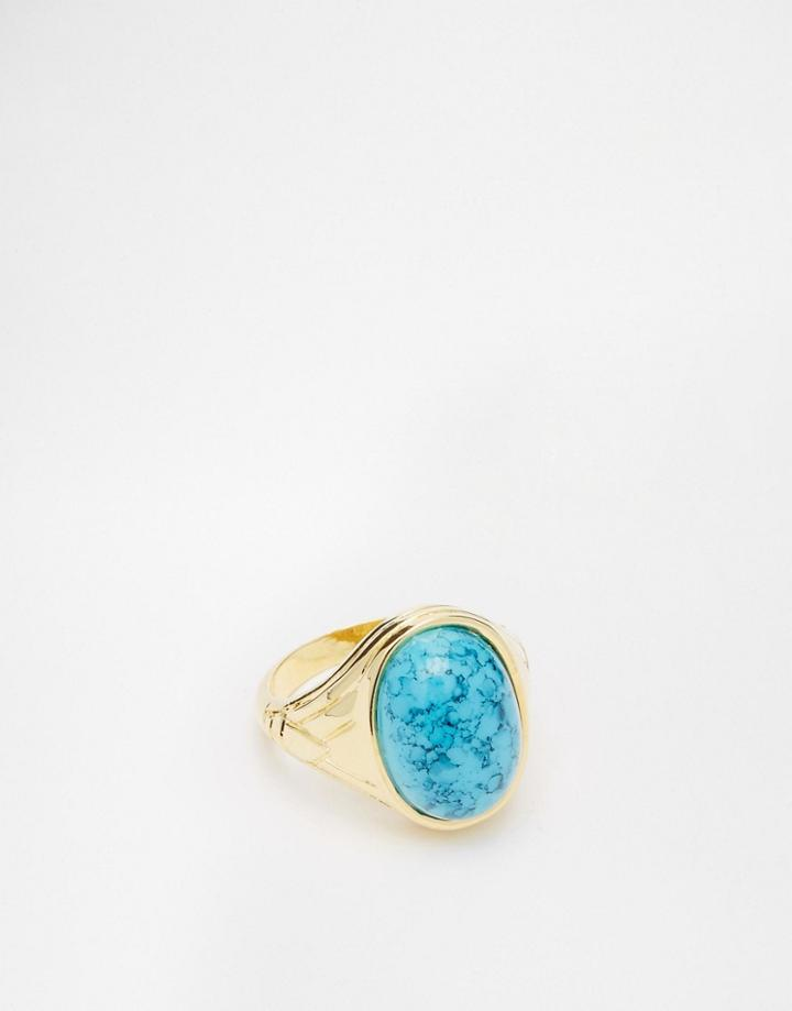 Asos Gold Plated Signet Ring With Turquoise Stone - Gold