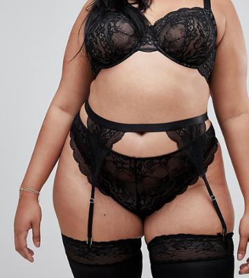 Asos Design Curve Roxy Lace Suspender - Black
