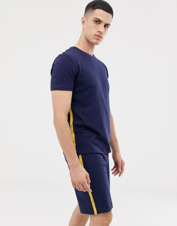 Tommy Hilfiger Crew Neck T-shirt With Contrast Sleeve Taping In Navy - Navy
