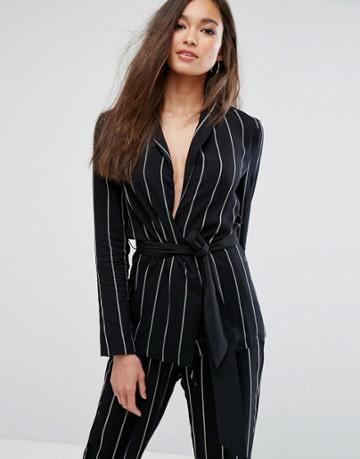 Prettylittlething Pinstripe Belted Blazer - Black
