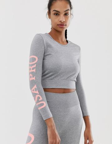 Usa Pro Crop Sweater - Gray