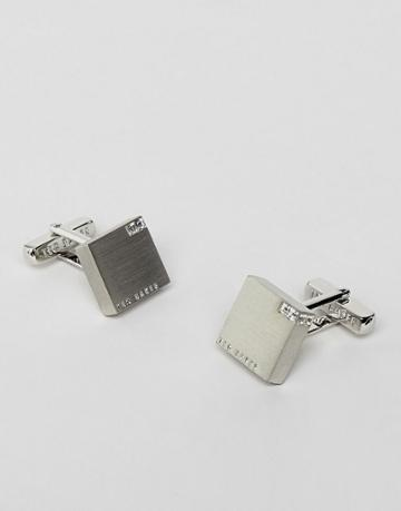 Ted Baker Cornered Crystal Block Cufflinks In Silver - Clear