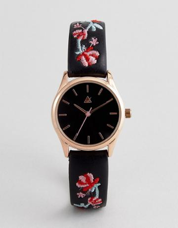 Asos Embroidered Watch - Black
