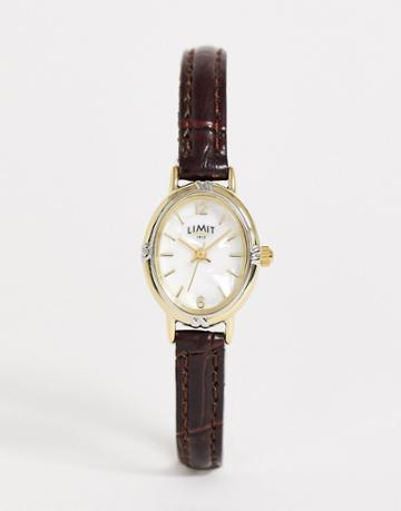 Limit Faux Leather Watch In Brown With Oval Dial