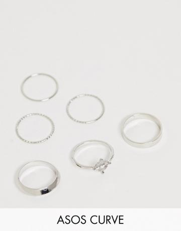 Asos Design Curve Pack Of 6 Rings With Engraved Heart Design And Graduated Band In Silver Tone - Silver
