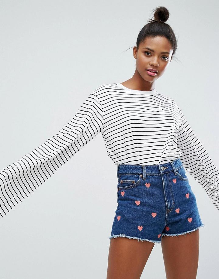 Monki Stripe Oversized Longsleeve T-shirt - White