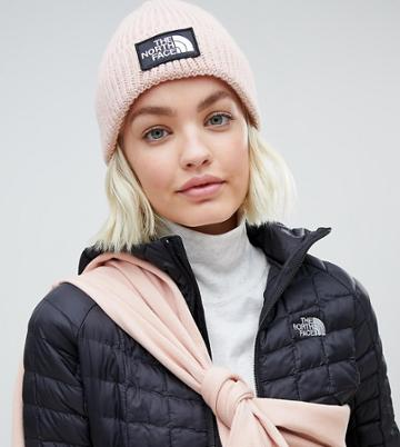 The North Face Logo Box Cuffed Beanie Hat In Pink - Pink