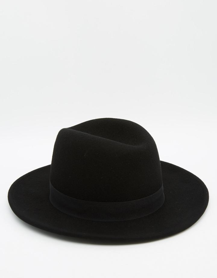 Asos Fedora Hat In Black Felt With High Crown - Black