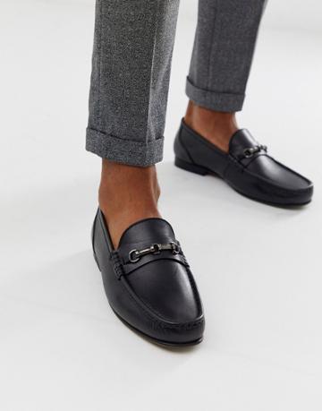 Asos Design Loafers In Black Leather - Black