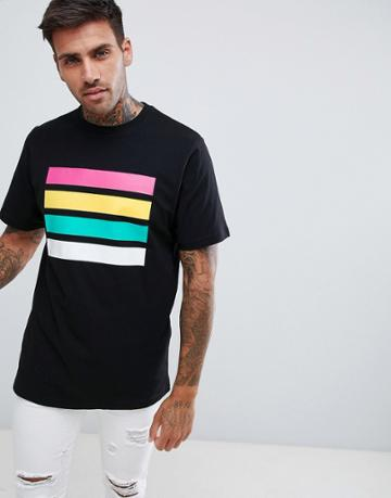 Pull & Bear T-shirt In Black With Stripes - Black
