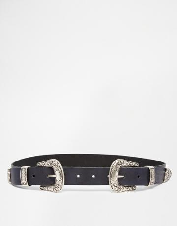 Asos Leather Double Buckle Western Waist And Hip Belt - Black