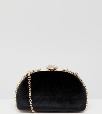 True Decadence Black Embellished Hard Clutch - Black
