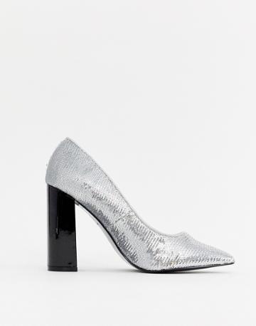 River Island Court Heels With Block Heel In Silver Sequin
