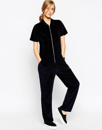 Asos Relaxed Jumpsuit In Velvet With Zip Detail - Navy