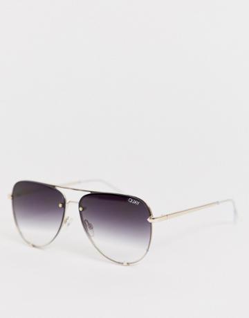 Quay Australia Desi Rimless High Key Sunglasses - Black