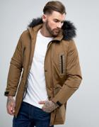 Asos Design Parka Jacket With Faux Fur Trim In Tobacco - Brown