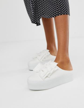 Asos Design Durham Bow Mule Sneakers In White - White