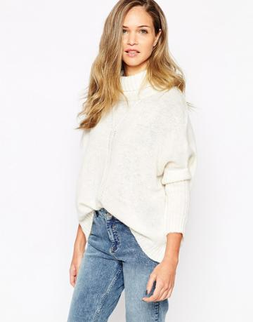 Vila High Neck Chunky Sweater - Pristine