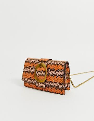 Asos Design Buckle Cross Body Bag In Striped Snake - Multi