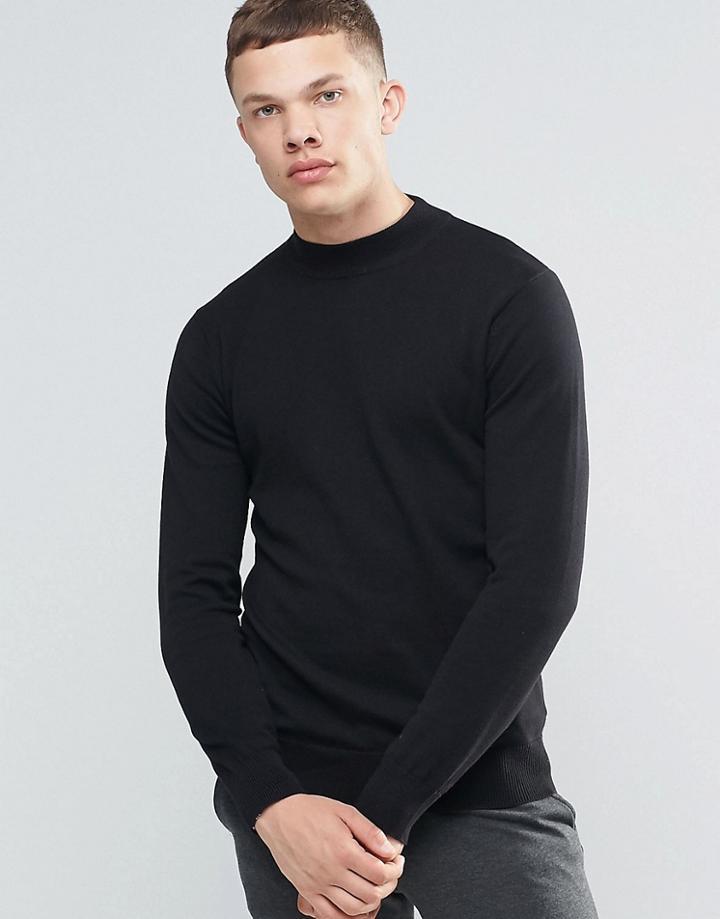 Brave Soul Turtleneck Sweater - Black