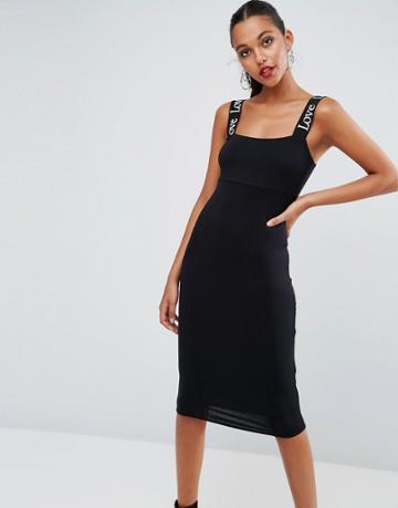 Asos Love Shoulder Strap Midi Bodycon Dress - Black