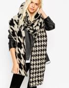 Asos Oversized Ultra Fluffy Scarf In Multi Scale Houndstooth - Mono