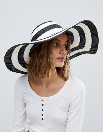 Vero Moda Wide Brim Straw Hat - Black