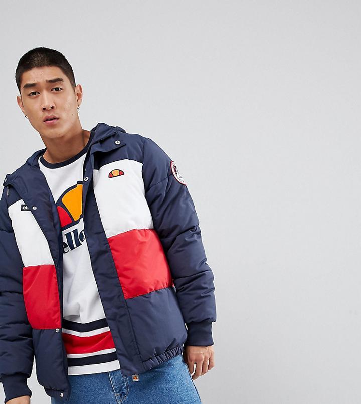 Ellesse Ski Padded Jacket With Logo Hood - Navy