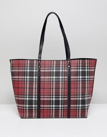 New Look Plaid Tote Bag - Red