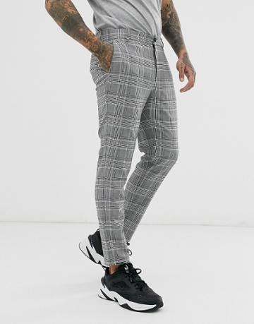 Bershka Skinny Pants In Gray Check