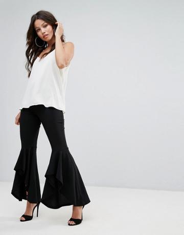 Prettylittlething Extreme Frill Hem Pants - Black