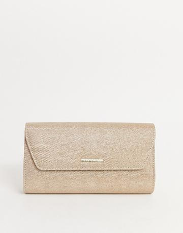 Lipsy Glitter Envelope Clutch Bag In Gold
