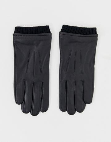 Barneys Original Leather Cuffed Touchscreen Gloves In Black