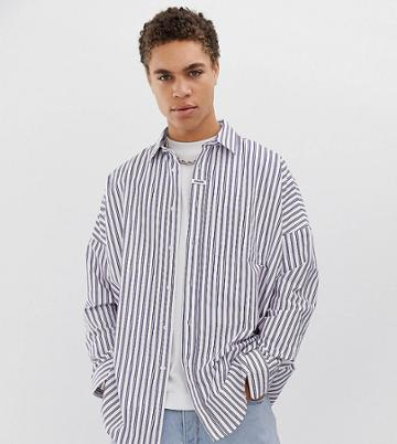 Collusion Drop Shoulder Oversized Stripe Oxford - White
