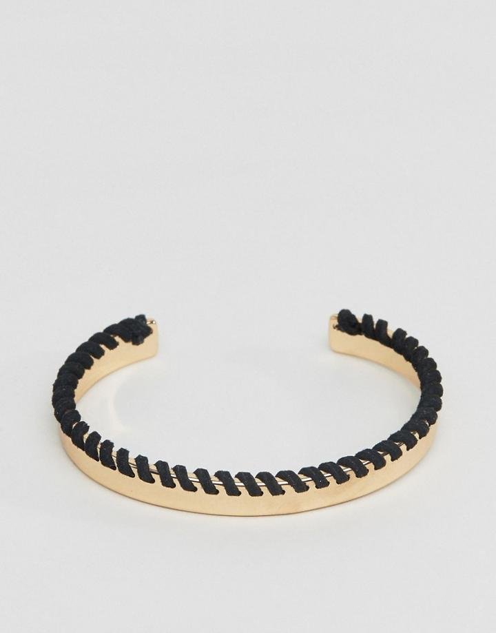 Asos Bangle In Gold With Contrast Whipstitch - Gold