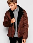 Barneys Faux Shearling Biker Jacket - Brown