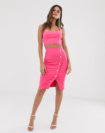 Vesper Midi Pencil Skirt With A Wrap And Button Through In Fuschia - Pink
