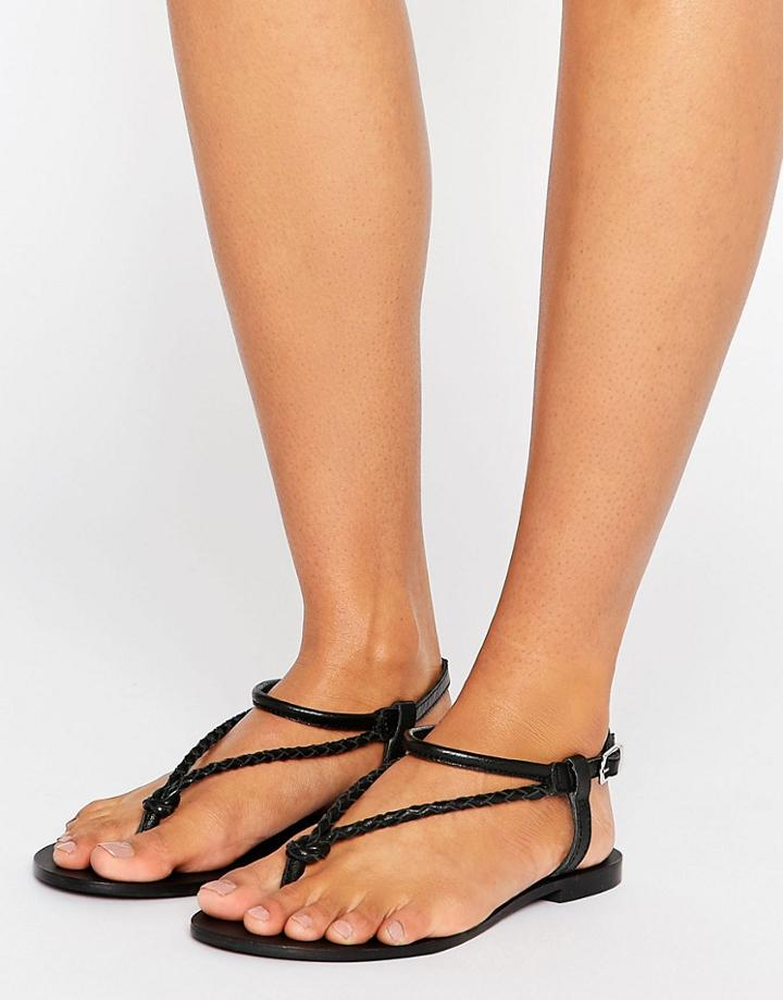 Asos Fixation Plaited Leather Flat Sandals - Black