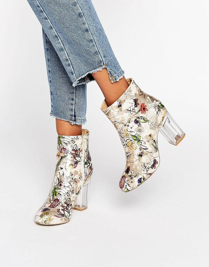 Public Desire Claudia Floral Clear Heeled Ankle Boots - Multi