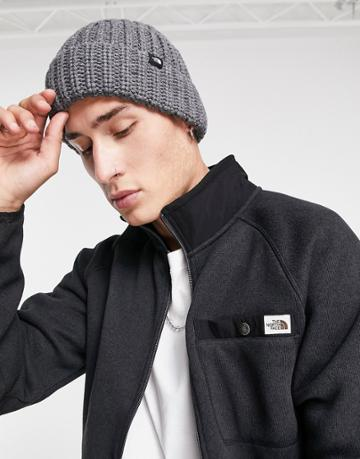 The North Face Chunky Watchman Beanie In Gray-grey