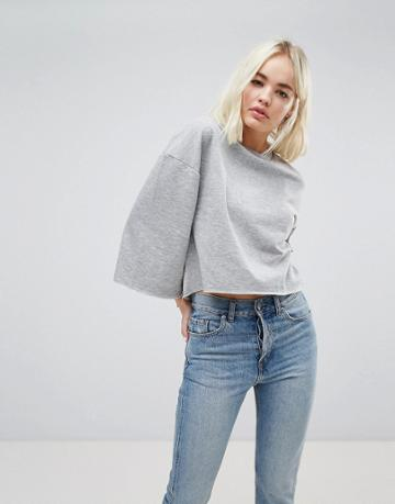 New Look Wide Sleeve Sweat - Gray