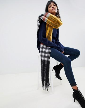 Asos Design Oversized Fluffy Blown Up Check Mustard Scarf - Yellow