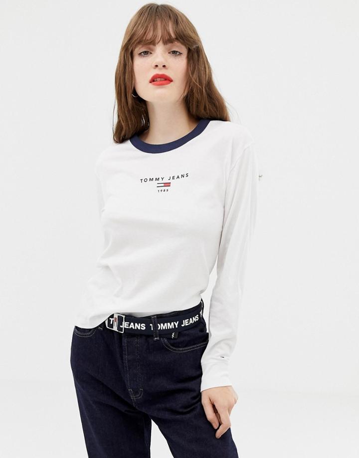 Tommy Jeans Logo Longsleeve T-shirt - White