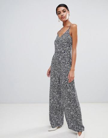 Warehouse Jumpsuit With O-ring Belt In Spiral Print - Navy